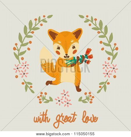 Cute fox with flovers, lovely illustration and greetin card.