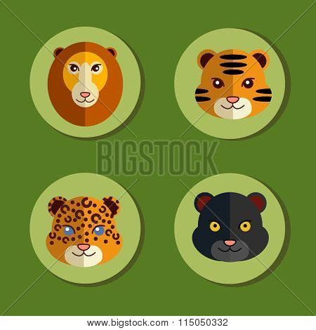Set of icons with wild animals cats.
