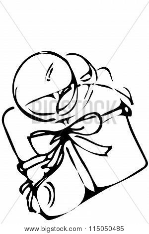 Vector Sketch Of A Gift Box Tied With A Ribbon