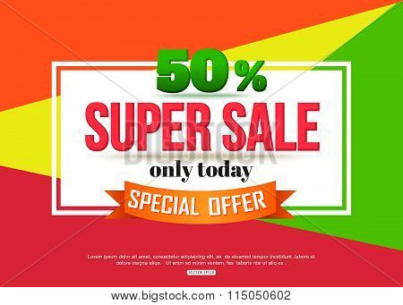 Super Sale banner on colorful background. Geometric design.