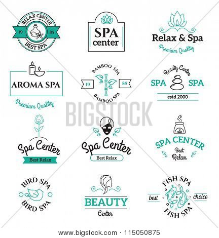Spa beauty and body care vector logo templates icons. Spa vector icons isolated on white background. Spa logo icons. Spa outline badges. Body health care icons modern style vector