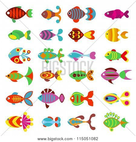 Aquarium flat style fishes vector icons. Set of vector fish icons. Sea and aquarium fish isolated on white background. Fish cartoon cute style illustration