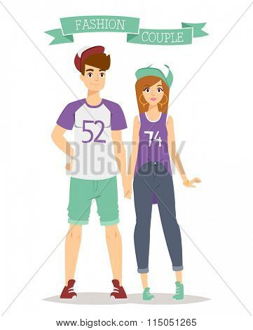 Beautiful vector cartoon couple fashion clothes models look standing over white background. Cartoon fashion people young couple. Modern beauty look. Some modern clothes