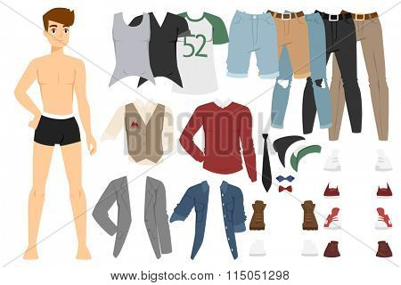 Beautiful vector cartoon fashion boy model constructor  look standing over white background. Cartoon fashion young nude man. Modern beauty looks. Some modern everyday clothes icons