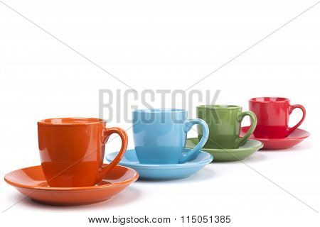Colored Coffee Mugs Row