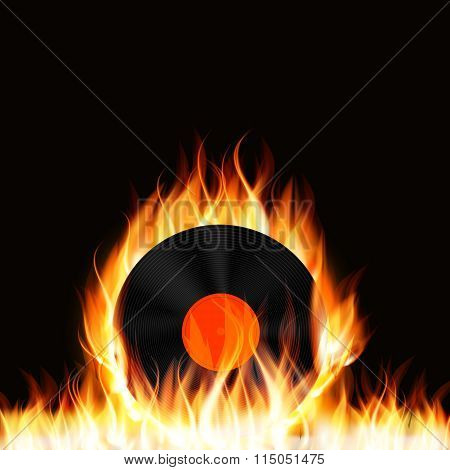 Abstract Music Background with Fire Vector Illustration