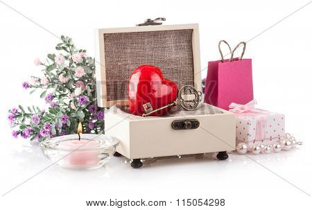 Heart in casket gift on holiday valentines day. Isolated on white background