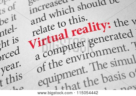 Definition Of The Word Virtual Reality In A Dictionary