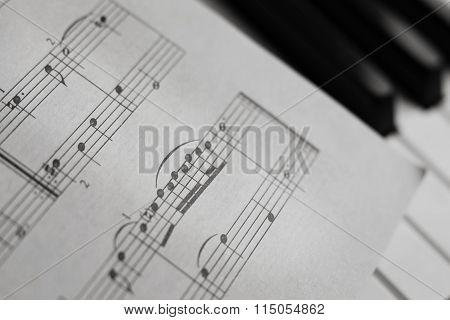 Piano Keys And Score Monochrome