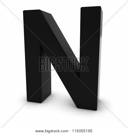 Black Capital N - 3D Letter N Isolated On White
