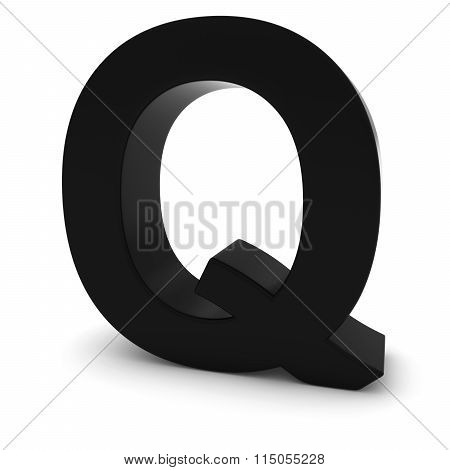 Black Capital Q - 3D Letter Q Isolated On White