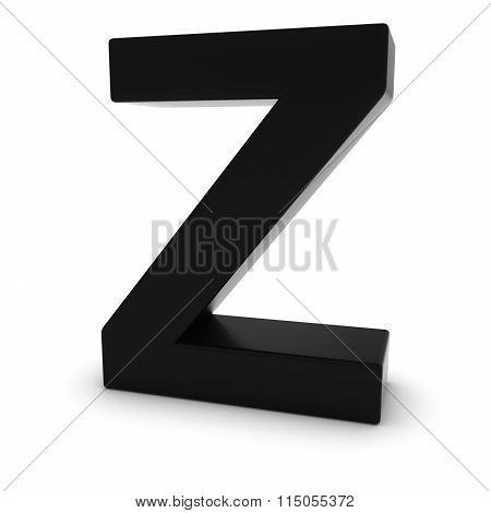 Black Capital Z - 3D Letter Z Isolated On White