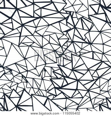 Doodle Triangles Outline Ornamental Seamless Pattern