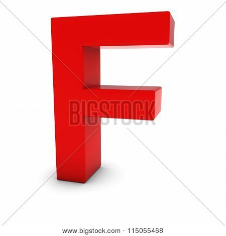 Red Capital F - 3D Letter F Isolated On White
