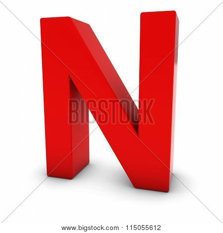 Red Capital N - 3D Letter N Isolated On White