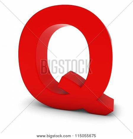 Red Capital Q - 3D Letter Q Isolated On White