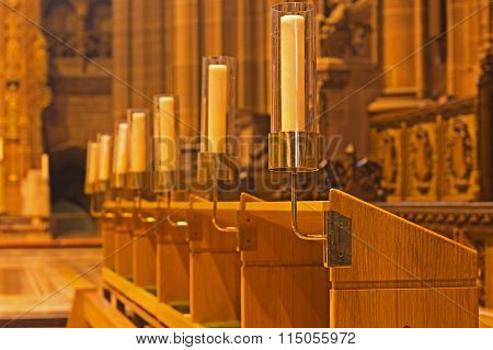 LIVERPOOL 14TH JANUARY 2016. Candles Inside Liverpool Anglican Cathedral