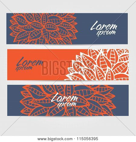 Set Of Sketchy Doodle Decorative Banners In Outline Style