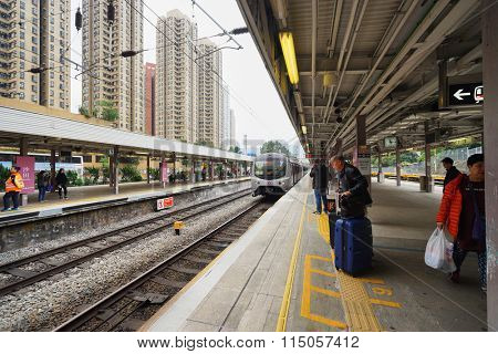 HONG KONG - DECEMBER 26, 2015: The Mass Transit Railway station. MTR is the rapid transit railway system in Hong Kong. It is one of the most profitable systems in the world