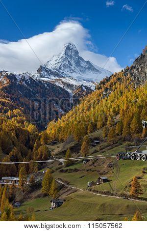 autumn Landscape of Mount Matterhorn, Canton of Valais
