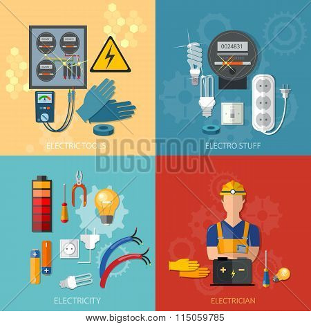 Professional Electrical Electricity Energy Electric Man In Yellow Hard Hat Electric Meter Vector Set