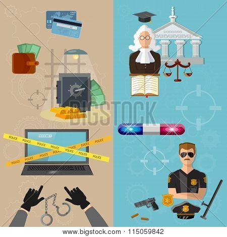 Thief And Policeman Data Protection Crime And Punishment Vector Banners