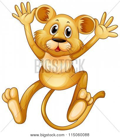 Lion cub jumping up illustration