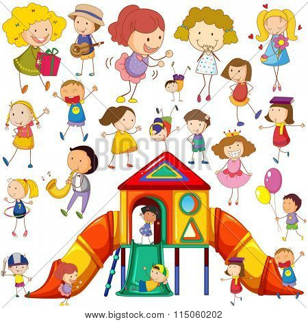 Children doing different actions and playhouse illustration