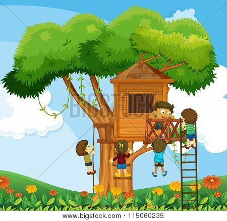 Children climbing up the treehouse in the garden illustration