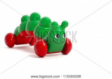 Green Caterpillar Toy Isolated