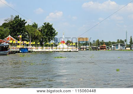 White Slant Pagoda Located At River Side At Koh Kret ,nonthaburi ,thailand.