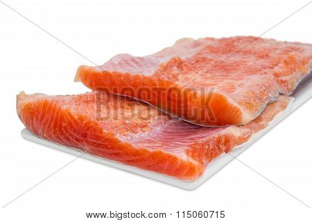 Fillet Of Rainbow Trout On A Light Background