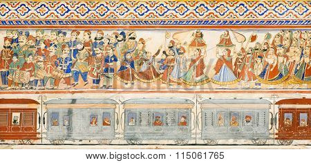 Many People On Train Station On Naive Style Fresco In India