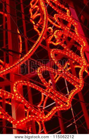 Red Colored Christmas Lights Detail Structure