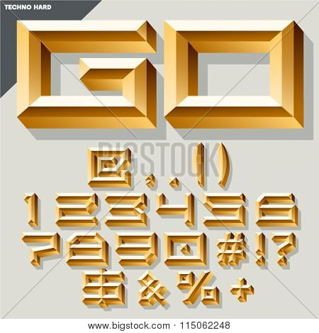 Chic vector golden set of numbers and symbols in techno style