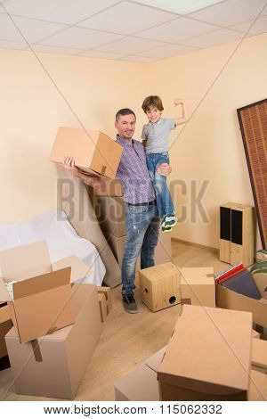 Family moving into a new house