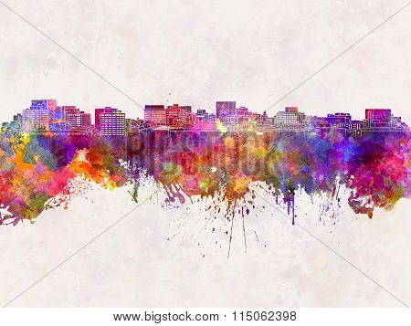 Hobart Skyline In Watercolor Background