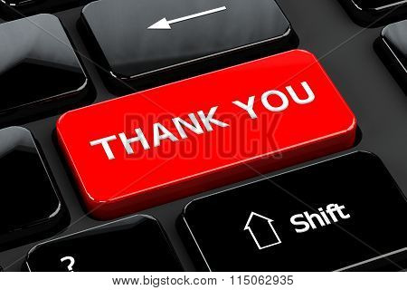 Thank You, On Computer Keyboard Background