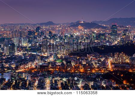 Seoul City Skyline At Night With Seoul Tower, South Korea.
