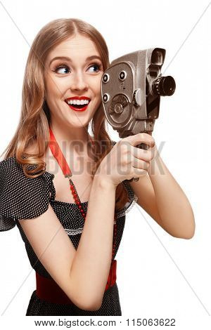 Young beautiful happy smiling slim blonde girl with vintage camera over white background, copy space