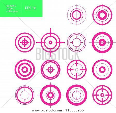 Vector collection of target flat icons. Cross-hairs set. Aims isolated.