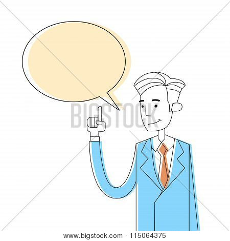 Businessman Point Finger Chat Box Bubble Copy Space Concept Thinking New Idea
