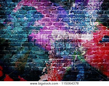 graffiti rough brick wall