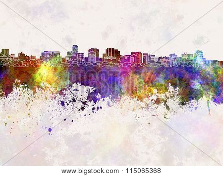 Parramatta Skyline In Watercolor Background