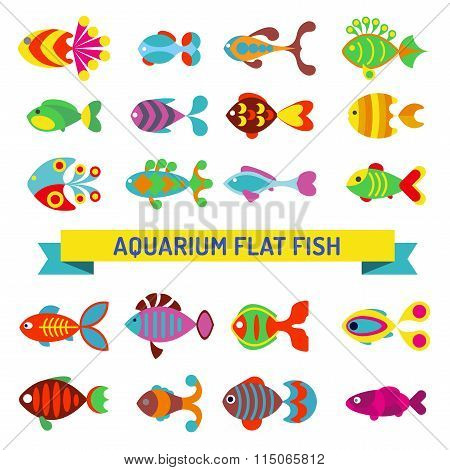 Aquarium flat style fishes vector icons