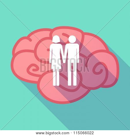 Long Shadow Brain With A Heterosexual Couple Pictogram