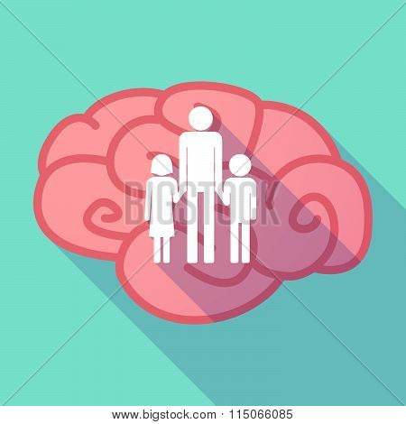 Long Shadow Brain With A Male Single Parent Family Pictogram