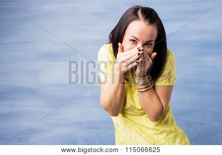 Woman giggling about something