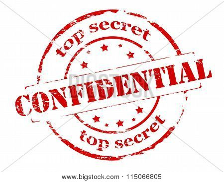 Rubber stamp with text top secret confidential inside vector illustration