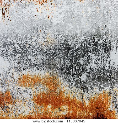 Abstract Rusty Metal Surface With Cracked White Paint. Textured Background For Your Concept Or Proje